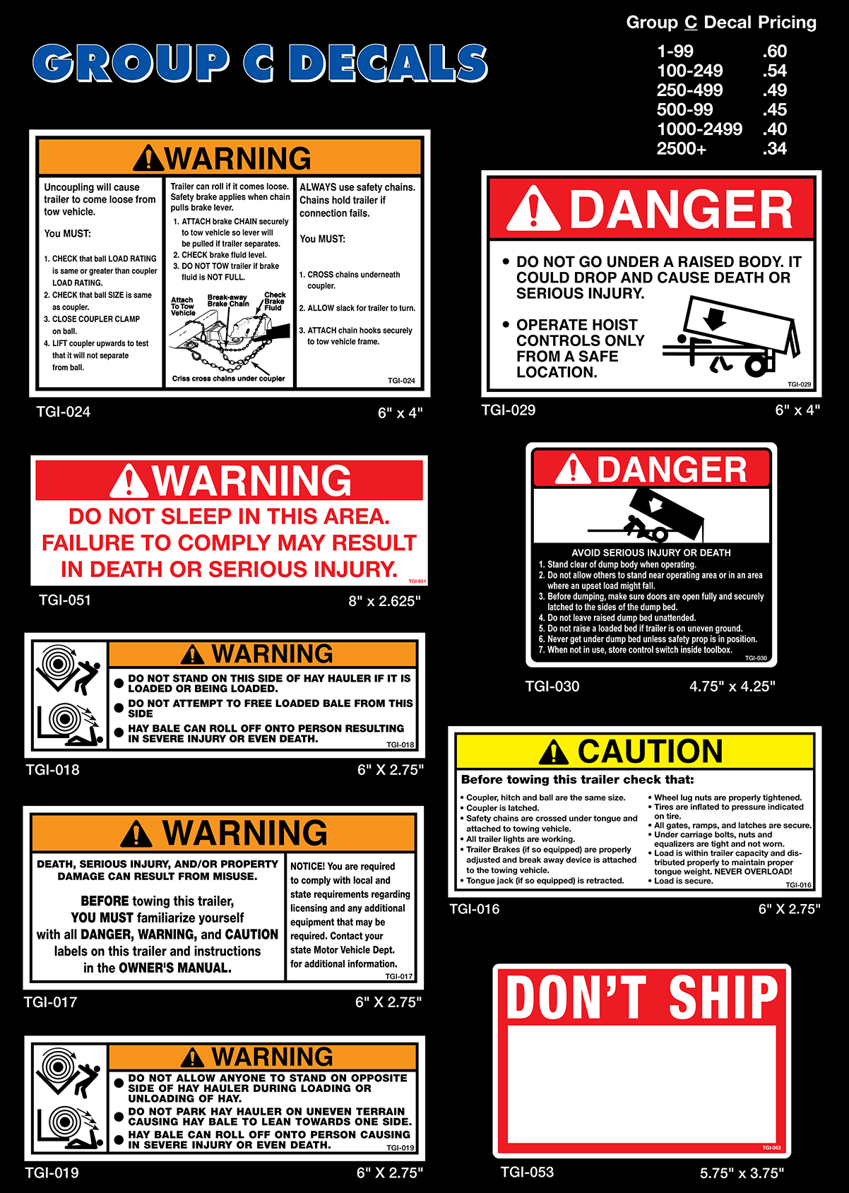 Trailer Safety Decals